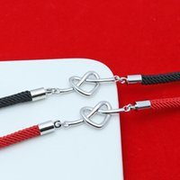 Charm Bracelets Hollow Glossy Heart-shaped Bracelet Fashion Korean Style Forever Knot Concentric Couple Red String