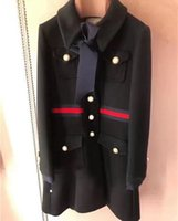 Vintage Black / White Long Women's Coats Designer Bow Big Letter Knappar Kvinnor Woolen Coat Plus Size CoatsOutwear 82007