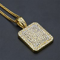 Mens Gold Cuban Link Chain Fashion Hip Hop Jewelry with Full Rhinestone Bling Bling Diamond Dog Tag Iced Out Pendant Necklaces 745 T2