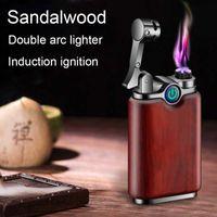 Creative Sandalwood Windproof Cool Lighter Wood Luxury Cigarette Encendedor USB Rechargeable Flameless Veiper Eletronico Plasma 210724