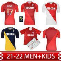 21 22 Monaco Ev Futbol Formaları 2021 Uzakta Ben Yedder Jovetic Golovin Gömlek Chadli Gelson .m Erkekler + Çocuk Kiti Futbol Üniformaları