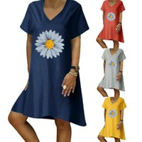 Ladies Casual Sunflower Personality Print Short-Sleeved V-Neck Cotton And Linen Dresses Women Irregular A-Line Summer Dress 2021