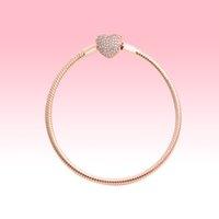 Bracciali in oro rosa 18 carati in oro rosa con scatola originale per Pandora 925 argento Amore cuori snake catena braccialetto donna gioielli da sposa donne