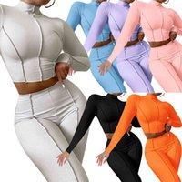 Womens Two Inverno Piece Set Treino Designer Carta bordado manga comprida Jacket Ladies Calças Lápis trajes casuais Esportes Roupas 2020