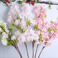 Декоративные Цветы Венки Искусственные вишневые Цветы Розовый Белый Дерево Шелковый Цветок Весна DIY Bonsai Arch Свадебные реквизиты Украшения Дома