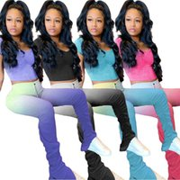 Women's Pants & Capris 2021 Stacked Sweats 2piece Outfits Leggings Set Summer Stack 2 Piece