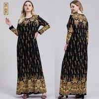 Abaya Muslim Dress Women Autumn Winter Retro Floral Print Maxi Long Dresses Turkish Islamic Clothing