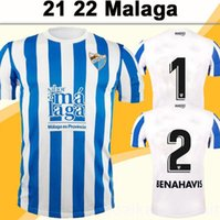 (Com IVA) 2122 Málaga Juande Jairo Mens Futebol Jerseys Jozabed Ismael Alexander Javi Jimenez Casa Branco Branco Azul Camisa de Futebol de Manga Curta