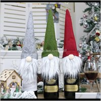 Festive Party Supplies Home & Garden Gift Decorations Santa Claus Glass Bottle Set Christmas Champagne Decoration Wine Bag W-00324 Drop Deliv