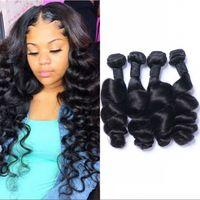 Peruvian Human Hair Loose Wave Bundles Extension Non Remy 3 4 Pcs Lot Natural Black 8-26 inch Double Weft
