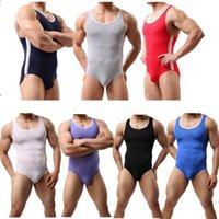 Men's Tank Tops Mens One Piece Swimsuit Push Up Solid Swimwear Male Bodysuit Leotard Monokini Thong Swimming Suit Beachwear