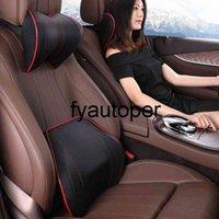 2021 New PU Leather Car Headrest Lumbar Pillow Auto Head Restraint Slow Rebound Neck Pillow Reduce Neck Pain For Driving