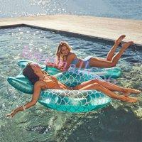 Sirène avec backrest piscine gonflable nage binaire adulte baignade skip piscine bague flottante piscine plage jouets de fête de plage