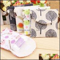 Storage Housekee Organization Home & Gardenstorage Bags Sanitary Pads Napkin Bag Aunt Cartoon Shape Key Coin Purse Package Cotton Drop Deliv