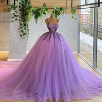 Light Purple Ball Gown Prom Dresses Spaghetti Straps Neck Beaded Evening Gowns Tulle Sweep Train Sequined Formal Dress
