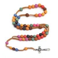Rose Sutra Colorato Collana Croce Collana Cattolica Rosario Rosario Perle Gesù Christian Prayer Beads Gioielli religiosi