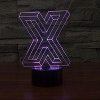 Buchstabe X 3D Nachtlicht, Berührung 7 Farben Ändern, optische Täuschung LED-Lampe USB Tischschreibtisch Beleuchtung Kinder Spielzeug Schlafzimmer Dekor Weihnachten Urlaub Geburtstag Geschenke für Jungen Mädchen