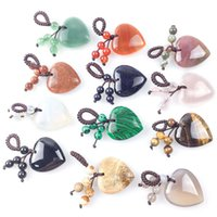 Key rings Natural Crystal Heart Love Stone Keychain 7 Chakra Reki Healing Gemstone Beads Tassel Keyring for Women