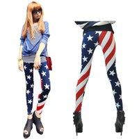 Arrivée Drapeau américain Supolflower Stripes Femmes Leggings Star Print Pantalon mince