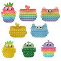 Fidget Toys Pencil Case Messenger Bag Pineapple Squeeze Push Bubble Sensory Squishy Stress Relief Shoulder Bags Autism Needs Antistress Rainbow Toy Children Gifts