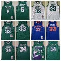 Basketbol Mitchell ve Ness Patrick Ewing Jersey Paul Pierce Larry Bird 33 Kevin Garnett 5 Ray Allen 34 Takım Yeşil Mavi Beyaz Vintage
