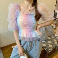 Herstory Büro Dame Sommer Japan Stil Kawaii Koreanische Chiffon Bluse Rainbow Frauen Puff Sleeve Square Kragen Lace Up Tops Männer Lässige Hemd