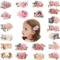 Hair Accessories 3Pcs Set Baby Flower Clips Sweet Artificial Floral Mesh Rose Pearl Hairpins For Girls Kids