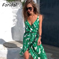 FORIDOL ärmelloses Blattdruck Boho Sommer Langes Kleid Casual Side Slit V-Ausschnitt Strand Maxi Frauen 2021 Vintage Urlaubskleider