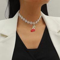 1pc Christmas Choker Necklace Retro Xmas Shoes Lace Pendant Jewelry Gift Wholesale Necklaces