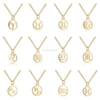12 Constell Pendant Necklace Silver Gold Zodiac Horoscope Sign Stainless Steel Necklace Chains for Women Fashion Jewelry Will and Sandy Virgo Libra Taurus Gemini
