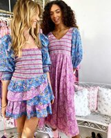 Ruffled Dress Women Dresses Long Sleeve Multi Floral Blue Summer Smocked Bodice Asymmetrical Tiered Mini Party Ladies