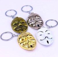 V pour Vendetta Chaîne de clé Femmes Hommes Pendentif Masque Keychain Key Ring Movie Bague Porte-bague Souvenirs Cadeaux Ju0914