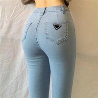 Jeans da donna con lettere budge tasca tasca per lady slim style slim pantaloni pantaloni bottoni venduti colore jean lungo pantalone asiatico taglia S-L