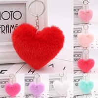Faux Pompom Love Heart Keychains jewelry Cute Rabbit Fur Ball Keyring for Women Girls Car Keyfobs Phone Hangbag Pendant Gift