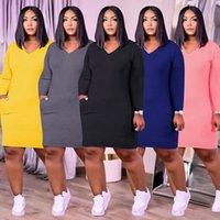 ZJFZML ZZ Femmes Vêtements Plus Taille Robe Casual Simple Solide Deep Col V cou à manches longues Robe de poche à manches longues Dropshipping Wholesale