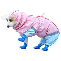 Dog Raincoat في الطقس الممطر، تغطية كاملة سترة من المطر، هوديي أربعة أرجل مناسب للملابس الكلاب الصغيرة والمتوسطة