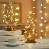 Christmas Decorations Crystal LED Night Light Tree Desk Table Lights Bedside Lamp Living Room Decor 2021 Year Decoration String