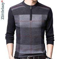 Zipper spessore caldo inverno a strisce a maglia a maglia maglione uomo indossare jersey mens pullover maglioni maglioni maglioni maschili moda 93003