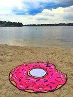 Sommer Fruit Beach Tuch Pizza Burger Schädel Eisdrecke Erdbeere Runde Strand Badetuch Kissen Bodenmatte Badeanzug Wrap Tuch Tuch GWF8340
