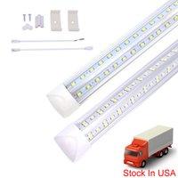 8ft LED أنبوب الخفيفة، تركيبات أضواء متجر، 6500K (الأبيض السوبر مشرق الأبيض)، غطاء واضح، إخراج عالية، صف مزدوج الخامس الشكل 270 درجة إضاءة لورشة عمل المرآب