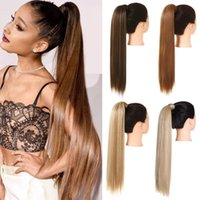 Synthetic Wigs Straight Long Natural Hair Ponytail Wrap Around Clip In Piece Curly Pony Tail For Woman Fake Hairpiece