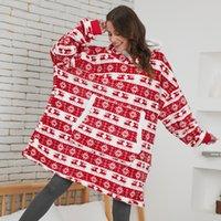 Wearable Tv Blanket with Sleeves Women Fleece Hooded Sweatshirt Deer Print Hoodies Oversized Warm Pullover Loose Sudaderas