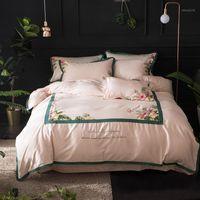 Set di biancheria da letto rosa Bianco Set di lusso Set Queen King Size Duzer Cover Duvet Bedsheet Egiziano Cotone da ricamo BedDingSets Fodera1