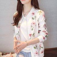 Women's Jackets 2021 Fashion Summer Women Bomber Print Jacket Long Sleeve Basic Coats Thin Slim Short Female Plue Size