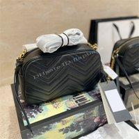 Moda Tasarımcılar Çanta Mikrofiber Deri Kamera Çantası Kapitone Çift Mektup Metal Parçaları Çapraz Vücut Üst Çekin Zincir Tipi Mühür Omuz Çantaları