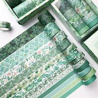 Wrap de cadeau 12 pcs / Set Green Geometry Series Washi Set Set Scrapbooking Rubans adhésifs décoratifs Papier Japonais Papeterie Autocollant