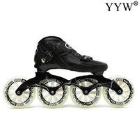 Pattini a rulli in linea Adulto 110mm 4 ruote 4 ruote Speed Skating Sliding Carbon Fiber Uomo per uomo in lega di alluminio ABEC-9 Avanzata