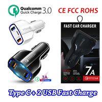 USB-C شاحن سيارة منفذ مزدوج USB شحن سريع نوع C مضغوط محول الطاقة PD QC3.0 ل iPhone Samsung Huawei مع الحزمة