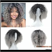 Productsz&F Ombre Granny Grey Brown Blonde Afro Kinky Curly Weave Hair Synthetic Short Wigs For Black Women Drop Delivery 2021 Qenav
