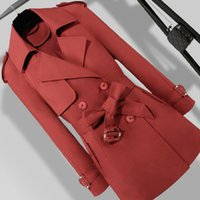Spring Autumn Trench Coat Women Long Sleeve Double Breasted ...